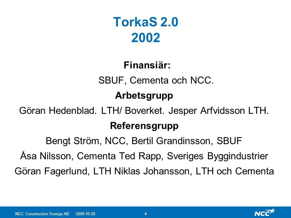 TorkaS 2.0 2002 Finansiär: SBUF, Cementa och NCC. Arbetsgrupp Göran Hedenblad. LTH/ Boverket. Jesper Arfvidsson LTH. Referensgrupp Bengt Ström, NCC, B