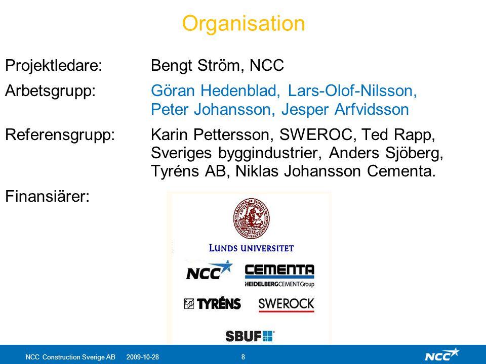 Organisation Projektledare: Bengt Ström, NCC Arbetsgrupp: Göran Hedenblad, Lars-Olof-Nilsson, Peter Johansson, Jesper Arfvidsson Referensgrupp:Karin P