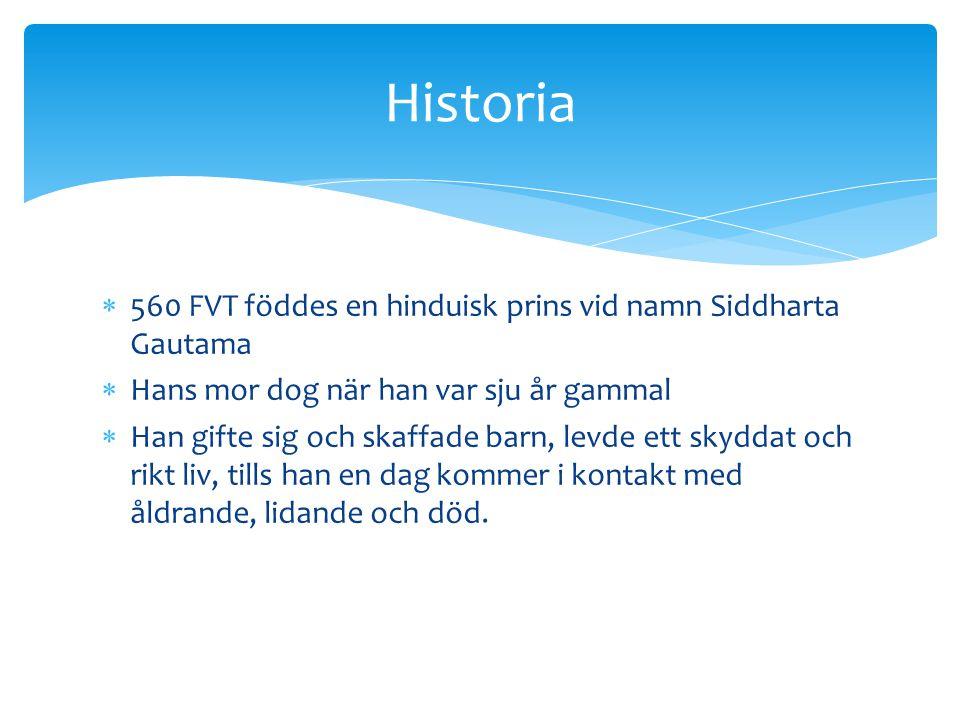  560 FVT föddes en hinduisk prins vid namn Siddharta Gautama  Hans mor dog när han var sju år gammal  Han gifte sig och skaffade barn, levde ett sk