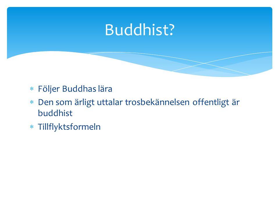  Följer Buddhas lära  Den som ärligt uttalar trosbekännelsen offentligt är buddhist  Tillflyktsformeln Buddhist?
