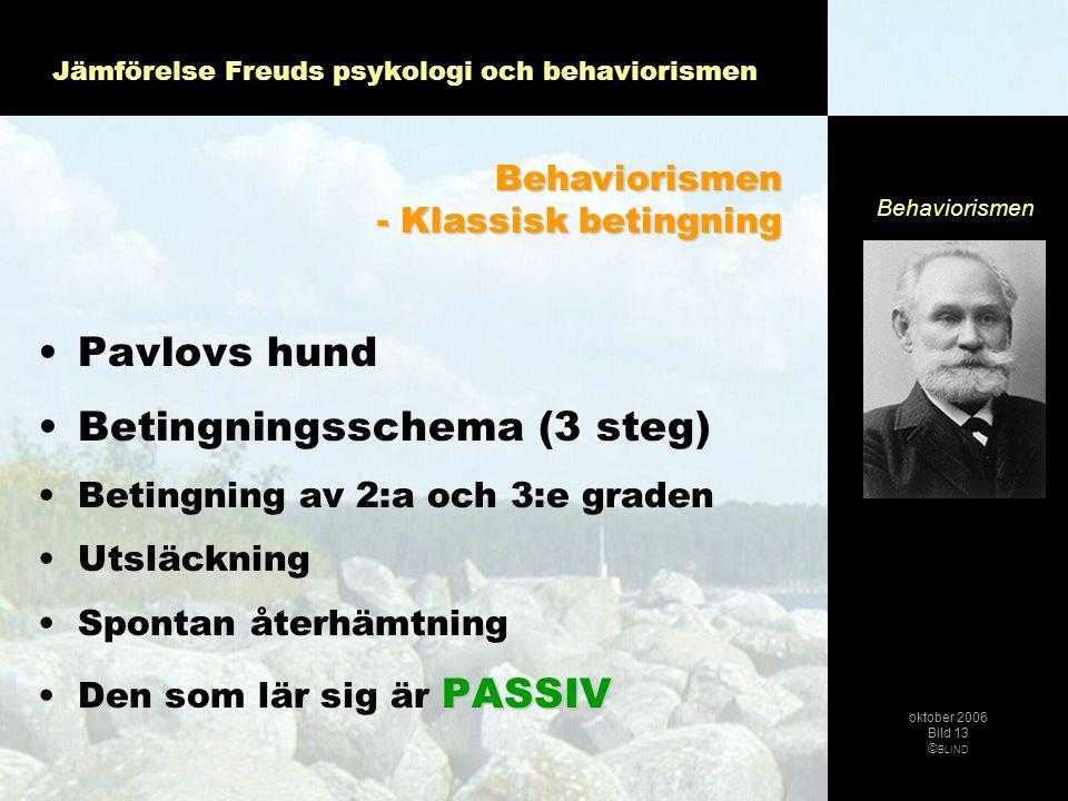 Jämförelse Freuds psykologi och behaviorismen •Pavlovs hund •Betingningsschema (3 steg) •Betingning av 2:a och 3:e graden •Utsläckning •Spontan återhä
