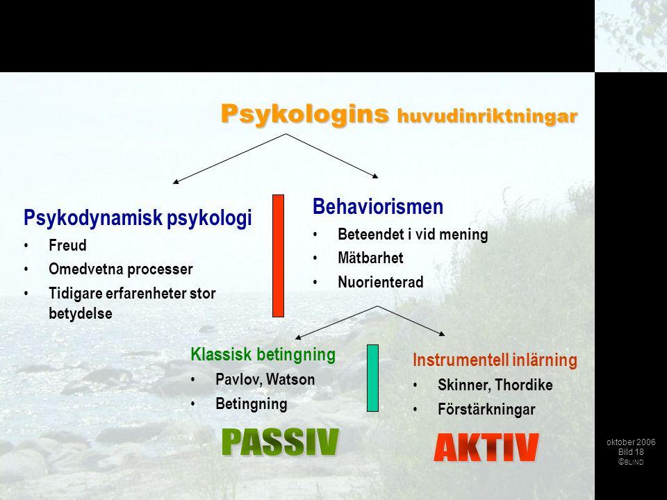 Psykodynamisk psykologi • Freud • Omedvetna processer • Tidigare erfarenheter stor betydelse Behaviorismen • Beteendet i vid mening • Mätbarhet • Nuor