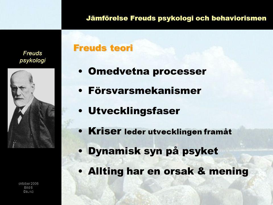 Jämförelse Freuds psykologi och behaviorismen •Omedvetna processer •Försvarsmekanismer •Utvecklingsfaser •Kriser leder utvecklingen framåt •Dynamisk s