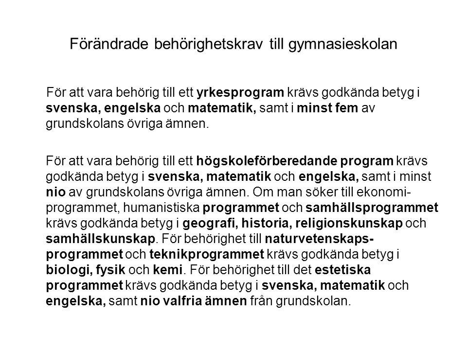 Förändrade behörighetskrav till gymnasieskolan För att vara behörig till ett yrkesprogram krävs godkända betyg i svenska, engelska och matematik, samt i minst fem av grundskolans övriga ämnen.