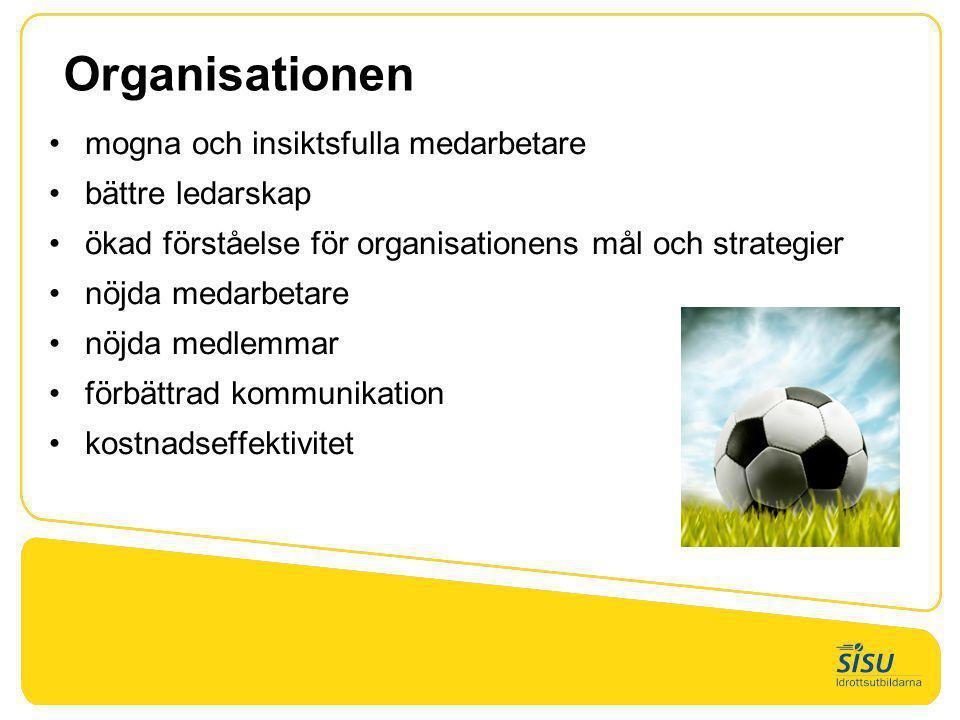 Organisationen •mogna och insiktsfulla medarbetare •bättre ledarskap •ökad förståelse för organisationens mål och strategier •nöjda medarbetare •nöjda