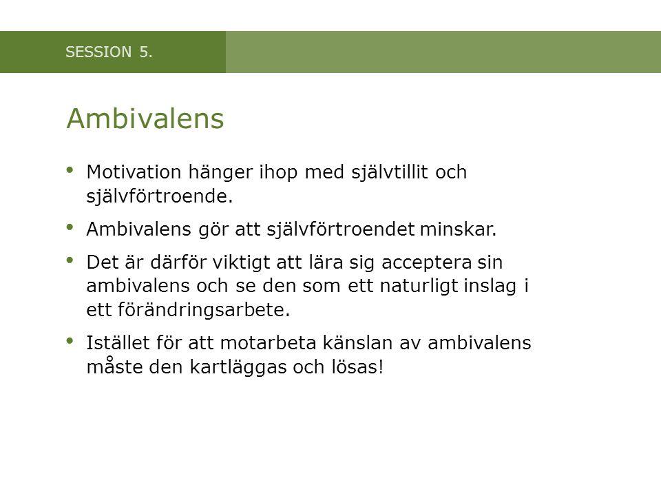 SESSION 5.Ambivalens • Motivation hänger ihop med självtillit och självförtroende.