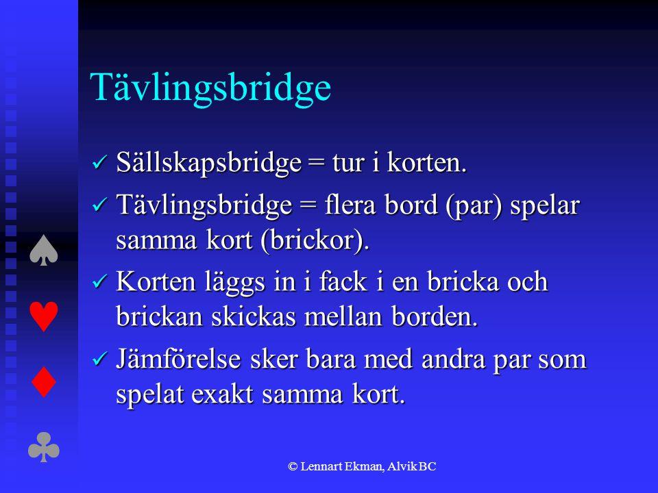  © Lennart Ekman, Alvik BC Tävlingsbridge  Sällskapsbridge = tur i korten.  Tävlingsbridge = flera bord (par) spelar samma kort (brickor). 