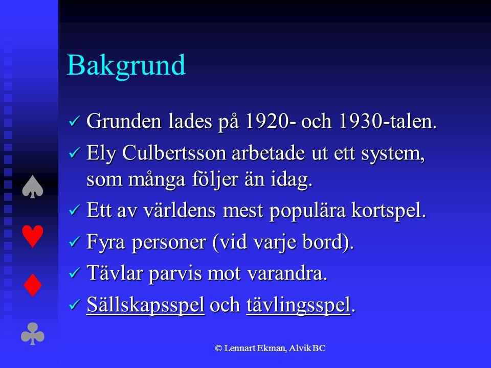  © Lennart Ekman, Alvik BC Bakgrund  Grunden lades på 1920- och 1930-talen.  Ely Culbertsson arbetade ut ett system, som många följer än ida