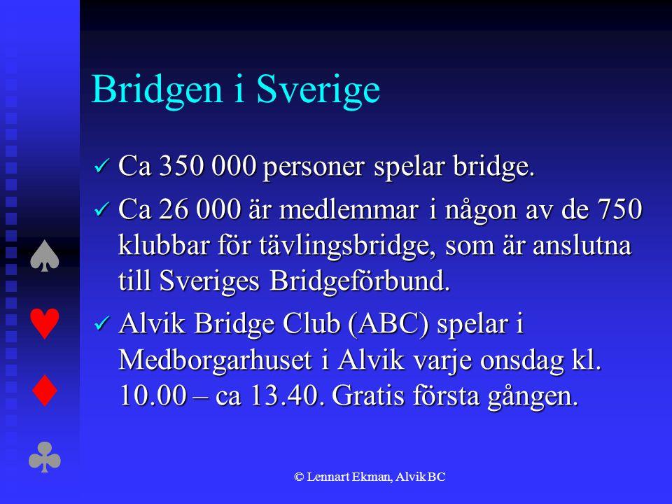  © Lennart Ekman, Alvik BC Bridgen i Sverige  Ca 350 000 personer spelar bridge.  Ca 26 000 är medlemmar i någon av de 750 klubbar för tävli