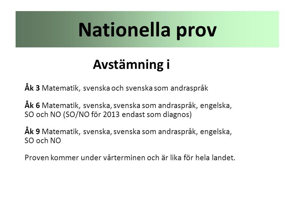 Nationella prov Avstämning i Åk 3 Matematik, svenska och svenska som andraspråk Åk 6 Matematik, svenska, svenska som andraspråk, engelska, SO och NO (
