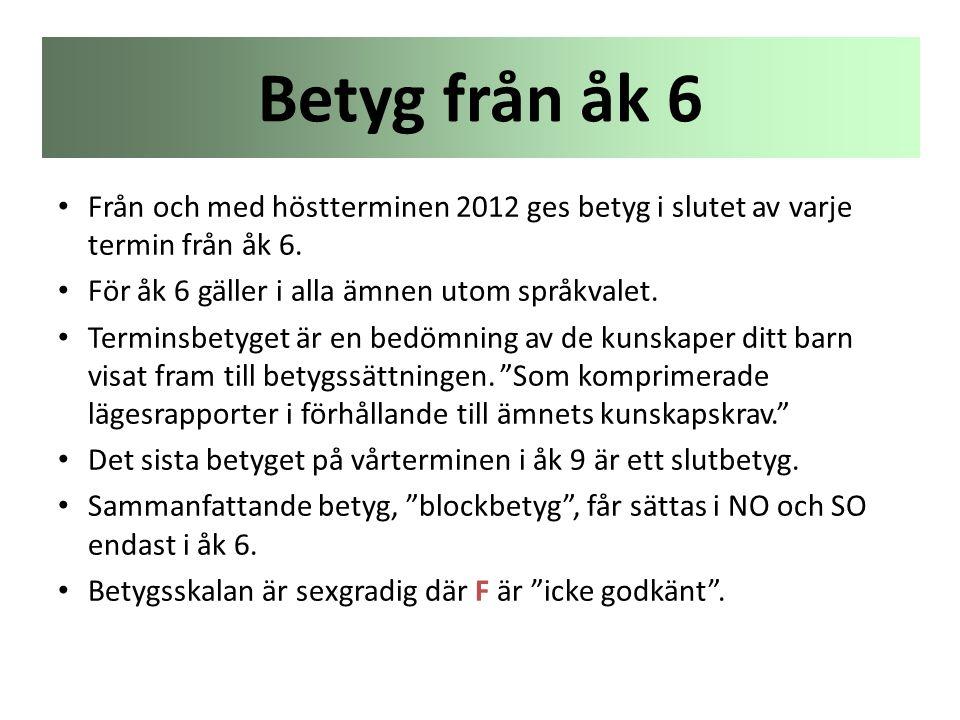• Från och med höstterminen 2012 ges betyg i slutet av varje termin från åk 6. • För åk 6 gäller i alla ämnen utom språkvalet. • Terminsbetyget är en