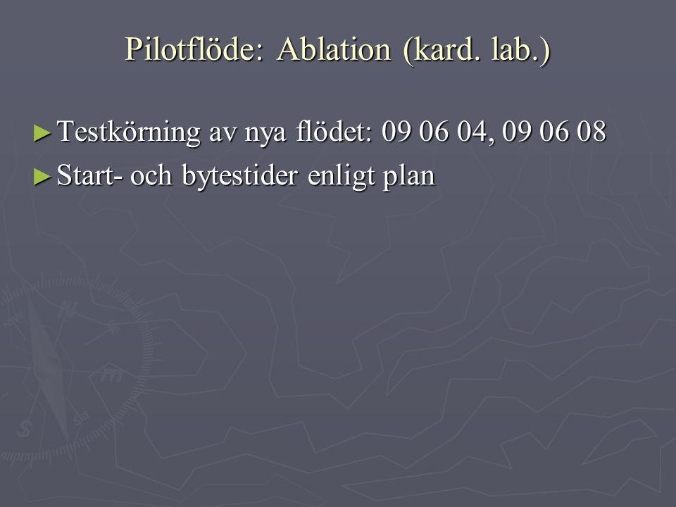 Pilotflöde: Ablation (kard. lab.) ► Testkörning av nya flödet: 09 06 04, 09 06 08 ► Start- och bytestider enligt plan