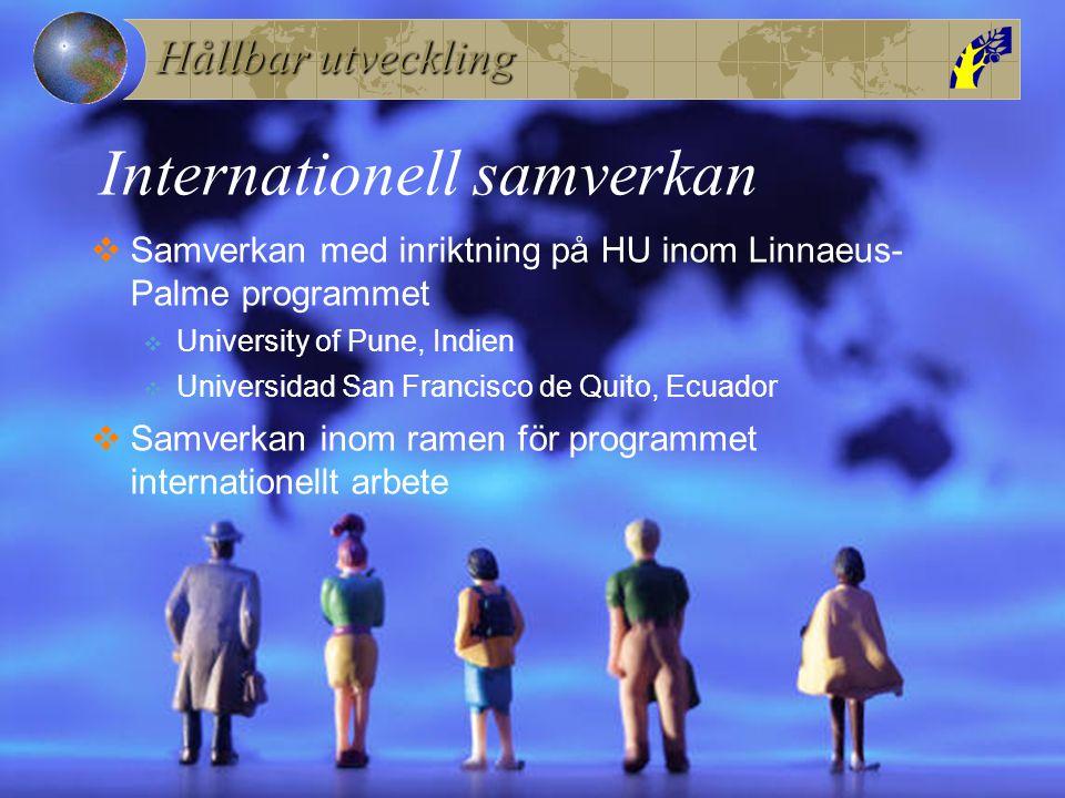 Hållbar utveckling Internationell samverkan  Samverkan med inriktning på HU inom Linnaeus- Palme programmet  University of Pune, Indien  Universida