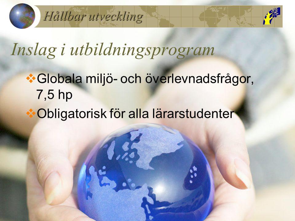 Hållbar utveckling Inslag i utbildningsprogram  Globala miljö- och överlevnadsfrågor, 7,5 hp  Obligatorisk för alla lärarstudenter
