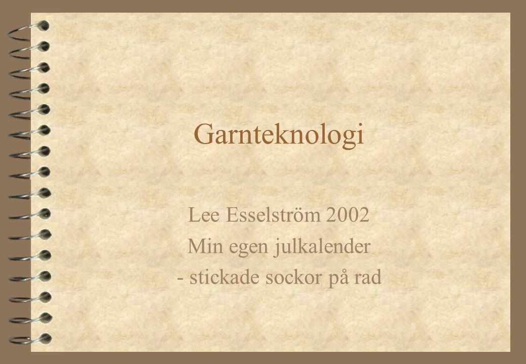 Lee Esselström Inledning  Min första idé var att göra en julkalender med stickade sockor i olika färger, mönster och storlekar.