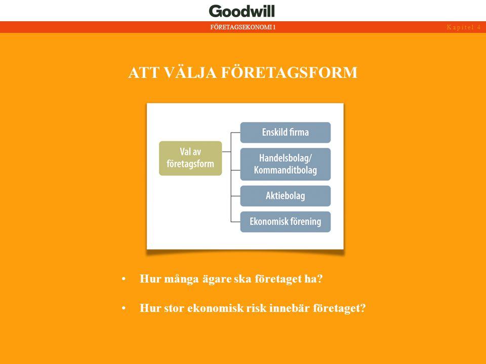 ATT VÄLJA FÖRETAGSFORM • Hur många ägare ska företaget ha? • Hur stor ekonomisk risk innebär företaget? FÖRETAGSEKONOMI 1Kapitel 4