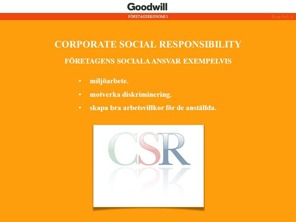 CORPORATE SOCIAL RESPONSIBILITY • miljöarbete. • motverka diskriminering. • skapa bra arbetsvillkor för de anställda. FÖRETAGENS SOCIALA ANSVAR EXEMPE