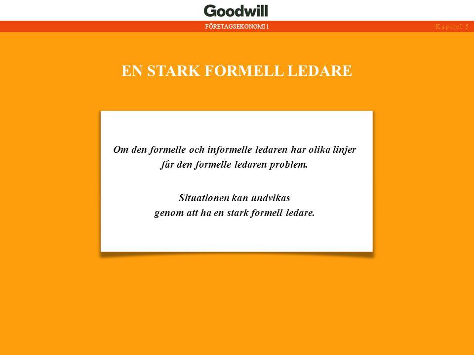 EN STARK FORMELL LEDARE Om den formelle och informelle ledaren har olika linjer får den formelle ledaren problem. Situationen kan undvikas genom att h