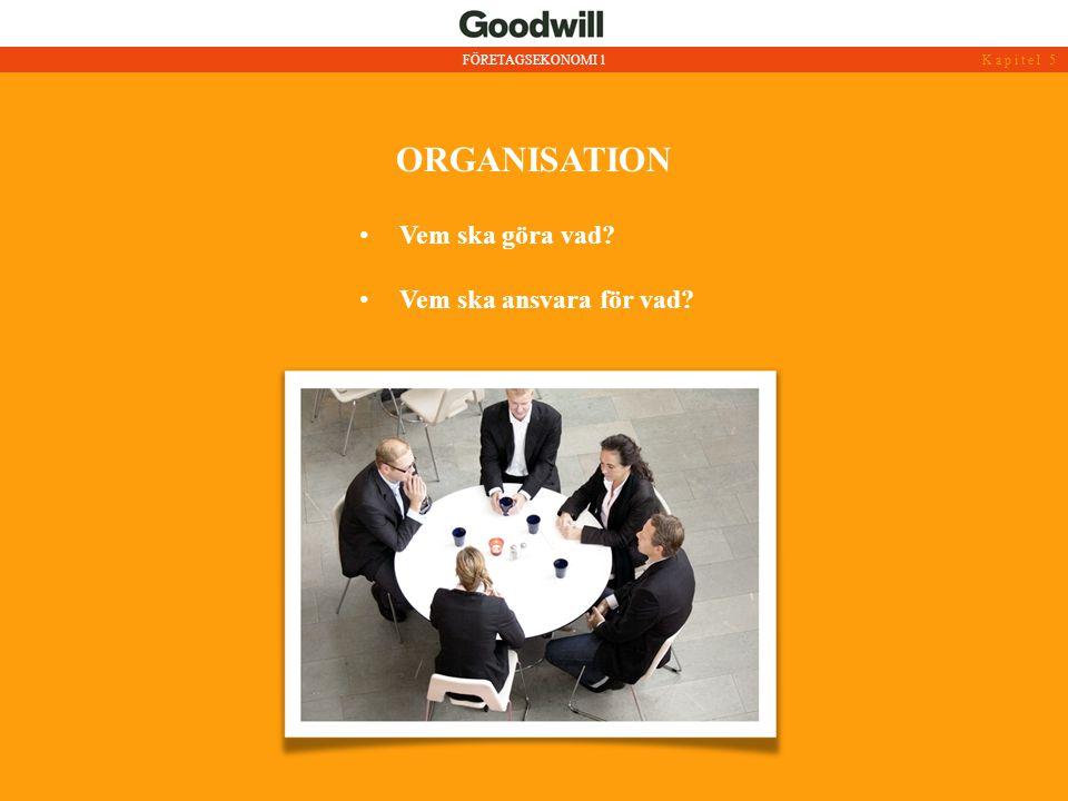 ORGANISATION • Vem ska göra vad? • Vem ska ansvara för vad? FÖRETAGSEKONOMI 1Kapitel 5