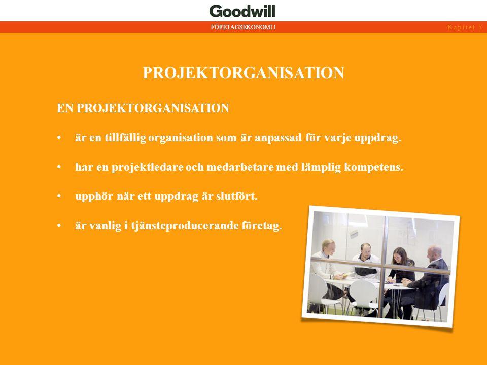 PROJEKTORGANISATION • är en tillfällig organisation som är anpassad för varje uppdrag. • har en projektledare och medarbetare med lämplig kompetens. •