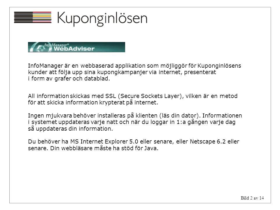 Bild 2 av 14 InfoManager är en webbaserad applikation som möjliggör för Kuponginlösens kunder att följa upp sina kupongkampanjer via internet, present