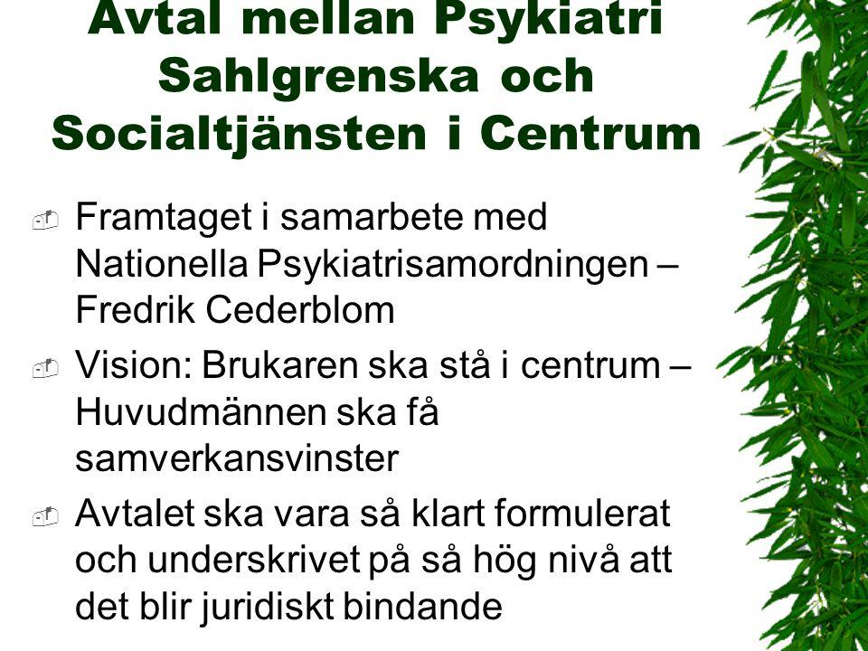 Avtal mellan Psykiatri Sahlgrenska och Socialtjänsten i Centrum  Framtaget i samarbete med Nationella Psykiatrisamordningen – Fredrik Cederblom  Vis