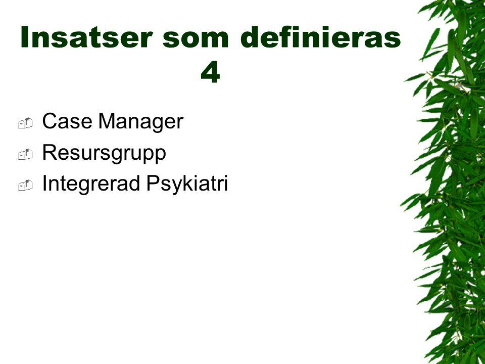 Insatser som definieras 4  Case Manager  Resursgrupp  Integrerad Psykiatri