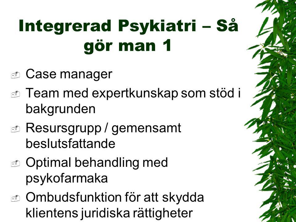 Integrerad Psykiatri – Så gör man 1  Case manager  Team med expertkunskap som stöd i bakgrunden  Resursgrupp / gemensamt beslutsfattande  Optimal