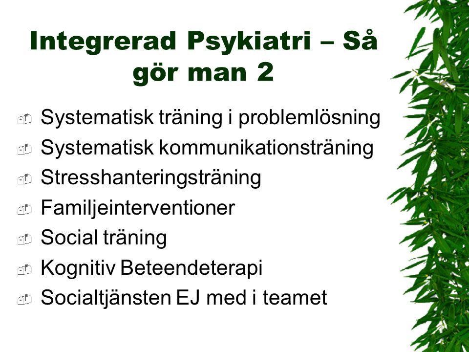 Integrerad Psykiatri – Så gör man 2  Systematisk träning i problemlösning  Systematisk kommunikationsträning  Stresshanteringsträning  Familjeinte
