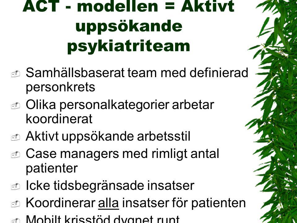ACT - modellen = Aktivt uppsökande psykiatriteam  Samhällsbaserat team med definierad personkrets  Olika personalkategorier arbetar koordinerat  Ak