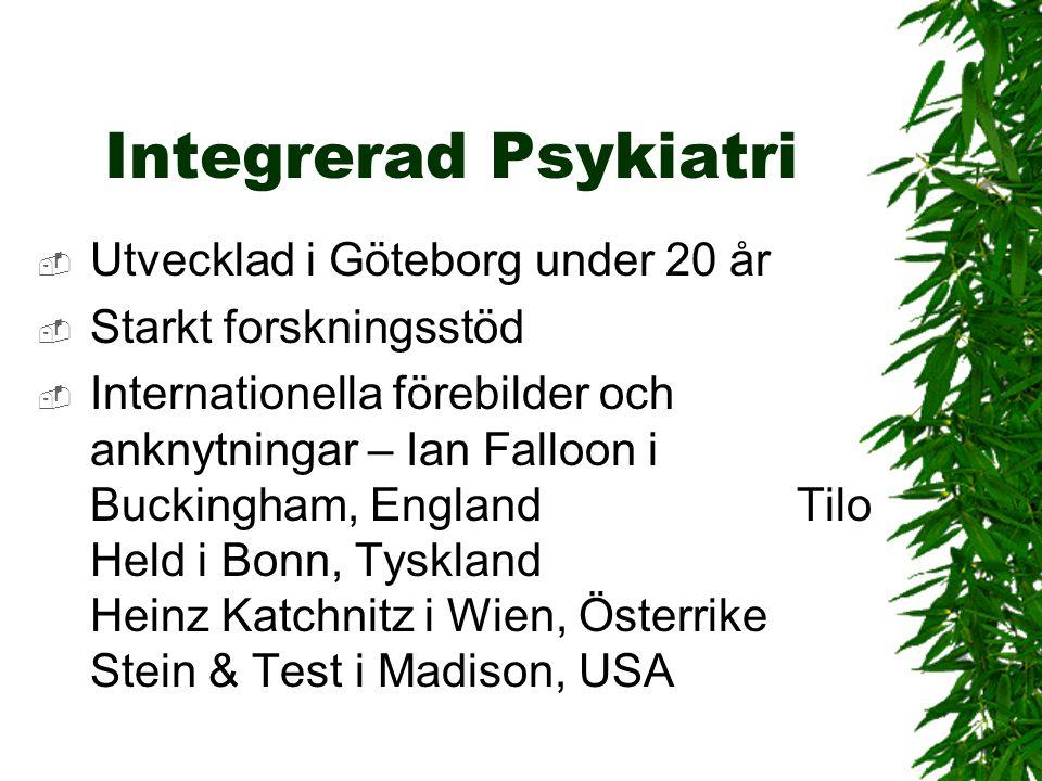 Integrerad Psykiatri  Utvecklad i Göteborg under 20 år  Starkt forskningsstöd  Internationella förebilder och anknytningar – Ian Falloon i Buckingh