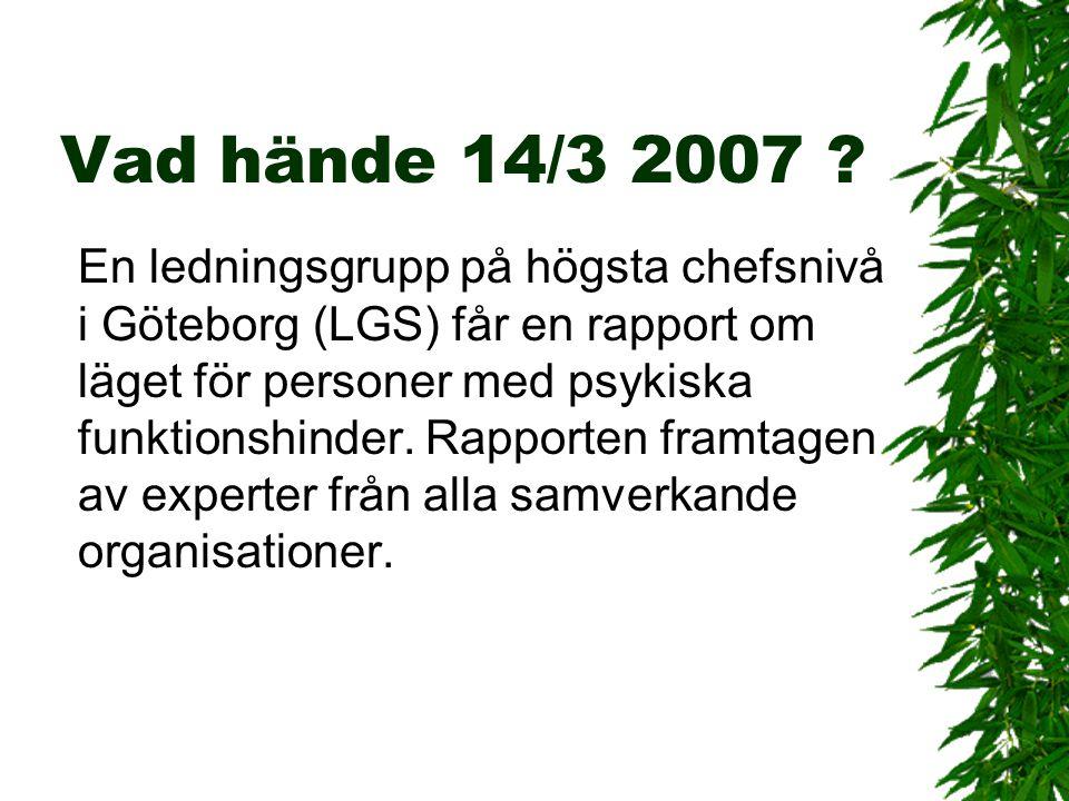 En ledningsgrupp på högsta chefsnivå i Göteborg (LGS) får en rapport om läget för personer med psykiska funktionshinder. Rapporten framtagen av expert