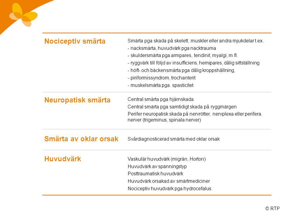 © RTP Smärta som börjat efter skalltrauma Förändrad känsel för smärta och/eller temperatur enl.