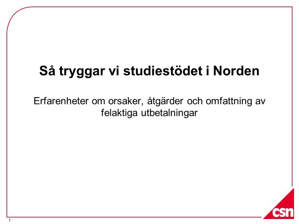1 Så tryggar vi studiestödet i Norden Erfarenheter om orsaker, åtgärder och omfattning av felaktiga utbetalningar