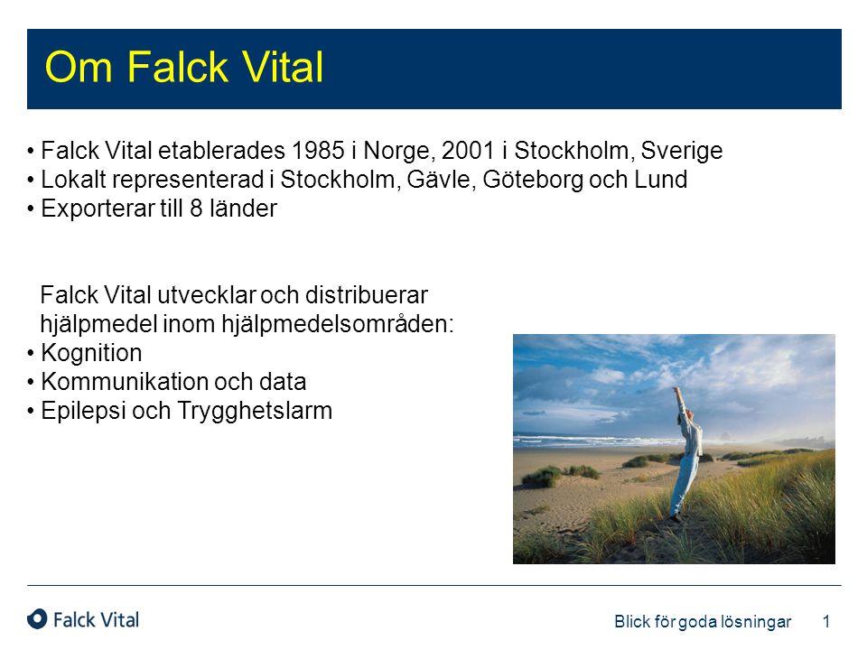 1 Blick för goda lösningar Om Falck Vital • Falck Vital etablerades 1985 i Norge, 2001 i Stockholm, Sverige • Lokalt representerad i Stockholm, Gävle,