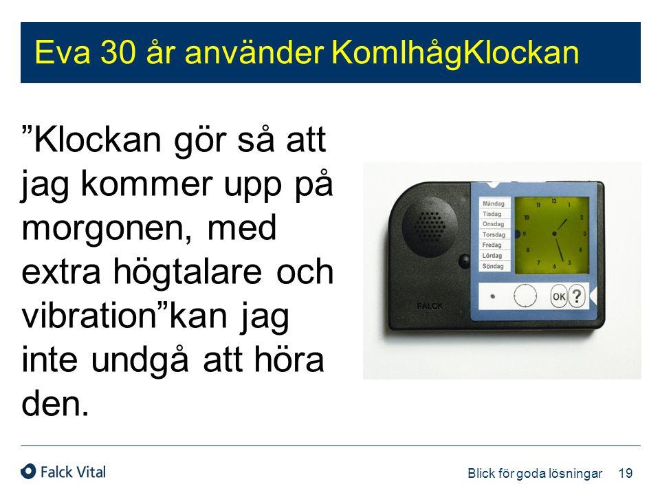 """19 Blick för goda lösningar Eva 30 år använder KomIhågKlockan """"Klockan gör så att jag kommer upp på morgonen, med extra högtalare och vibration""""kan ja"""