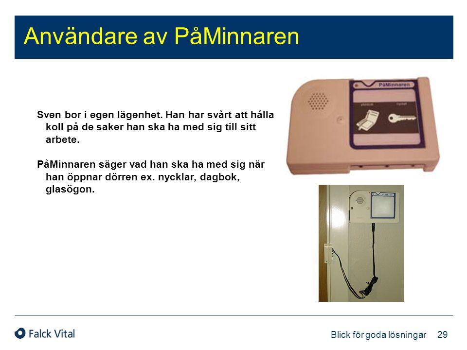 29 Blick för goda lösningar Användare av PåMinnaren Sven bor i egen lägenhet. Han har svårt att hålla koll på de saker han ska ha med sig till sitt ar