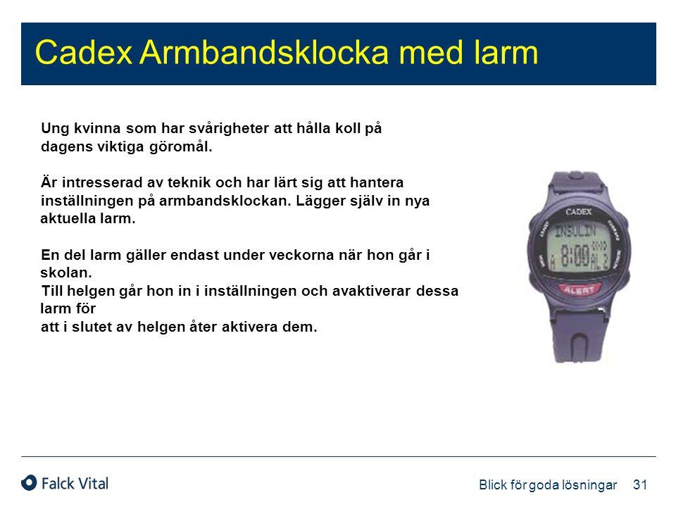 31 Blick för goda lösningar Cadex Armbandsklocka med larm Ung kvinna som har svårigheter att hålla koll på dagens viktiga göromål. Är intresserad av t