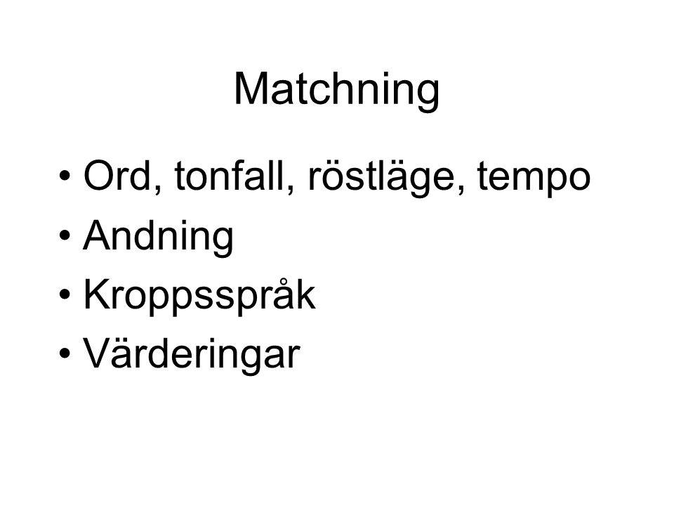 Matchning •Ord, tonfall, röstläge, tempo •Andning •Kroppsspråk •Värderingar
