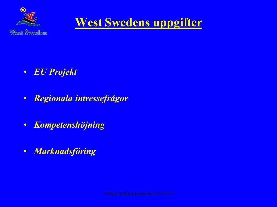 Stiklestadkonferansen 08.05.03 West Swedens uppgifter •EU Projekt •Regionala intressefrågor •Kompetenshöjning •Marknadsföring