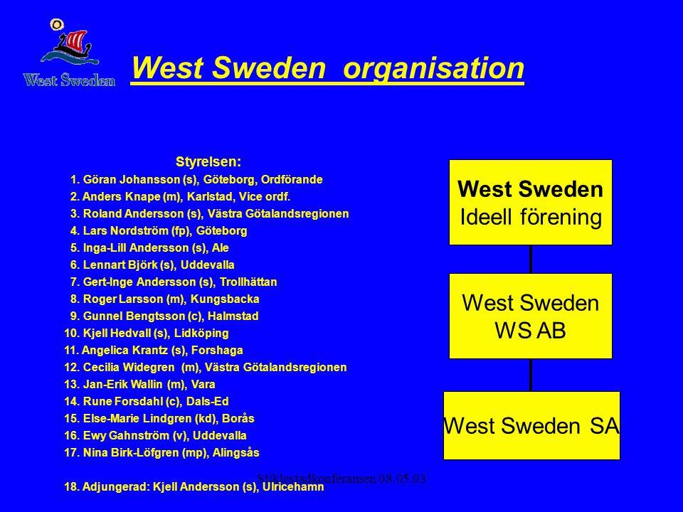 Stiklestadkonferansen 08.05.03 West Sweden organisation Styrelsen: 1. Göran Johansson (s), Göteborg, Ordförande 2. Anders Knape (m), Karlstad, Vice or