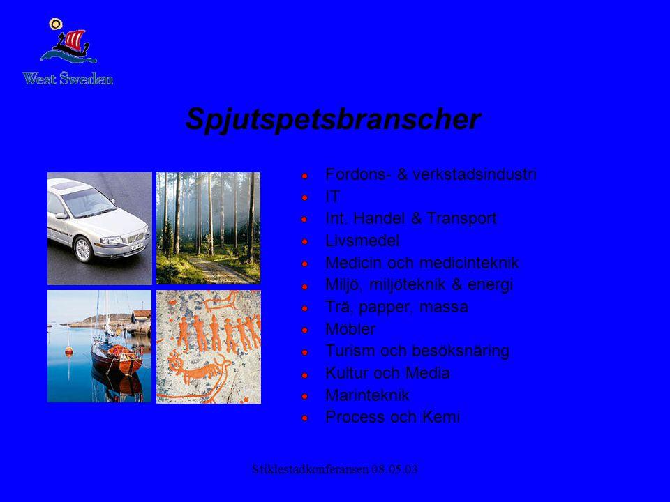 Stiklestadkonferansen 08.05.03 Spjutspetsbranscher Fordons- & verkstadsindustri IT Int. Handel & Transport Livsmedel Medicin och medicinteknik Miljö,