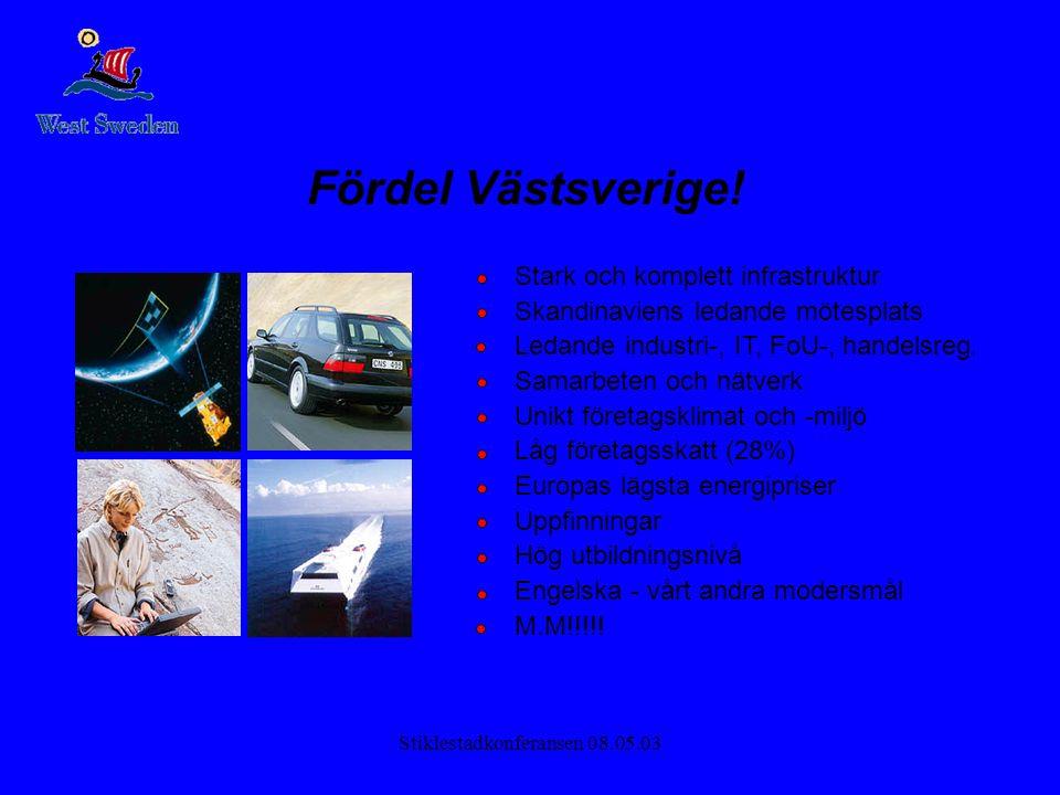 Stiklestadkonferansen 08.05.03 Fördel Västsverige! Stark och komplett infrastruktur Skandinaviens ledande mötesplats Ledande industri-, IT, FoU-, hand