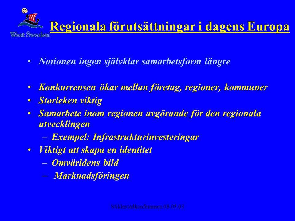 Stiklestadkonferansen 08.05.03 Offentliga sektorns roll Företag och kreativa människor söker sig dit där utvecklingsmiljön är mest positiv Globaliseringens paradox: Ju mer internationaliseringen fortgår, desto viktigare vad vi själva gör lokalt och regionalt för att skapa en attraktiv utvecklingsmiljö •Regional och lokal nivå måste agera internationellt för att ta tillvara på medborgarnas intresse –Nätverksbyggande, samarbetsavtal, strategiska allianser, utnyttja europeiska stödordningar –Lobbying: •Downstream (dra pengar till regionen) •Upstream (påverka politiken) –Ställer nya krav på internationell kompetens