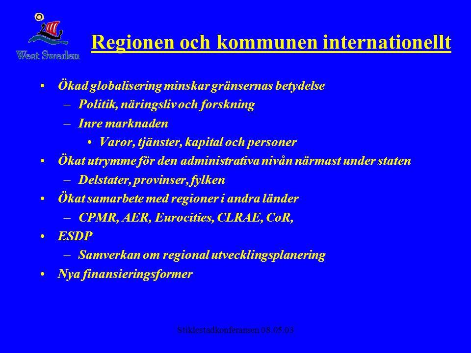 Stiklestadkonferansen 08.05.03 Regionen och kommunen internationellt •Ökad globalisering minskar gränsernas betydelse –Politik, näringsliv och forskni