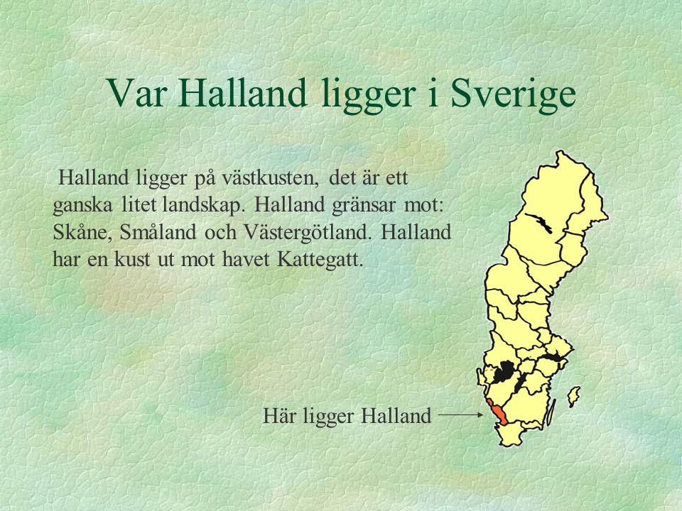 Var Halland ligger i Sverige Halland ligger på västkusten, det är ett ganska litet landskap. Halland gränsar mot: Skåne, Småland och Västergötland. Ha
