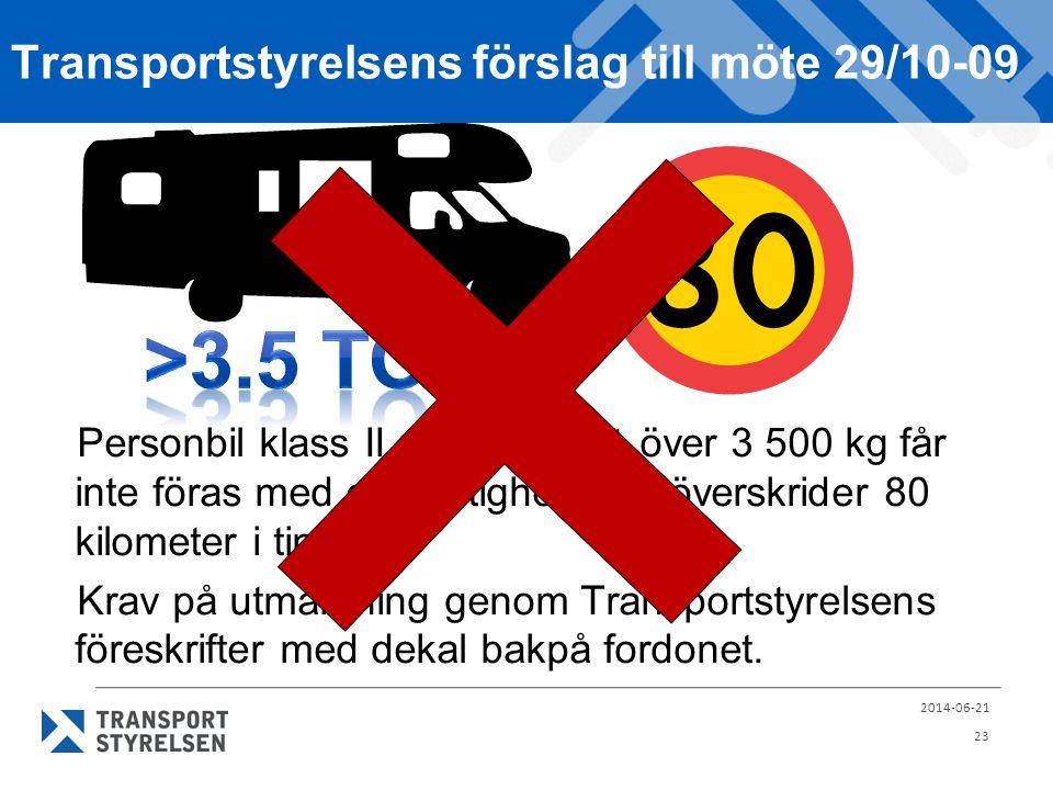 Transportstyrelsens förslag till möte 29/10-09 Personbil klass II med totalvikt över 3 500 kg får inte föras med en hastighet som överskrider 80 kilom