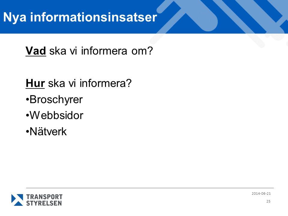 Nya informationsinsatser Vad ska vi informera om? Hur ska vi informera? •Broschyrer •Webbsidor •Nätverk 2014-06-21 25