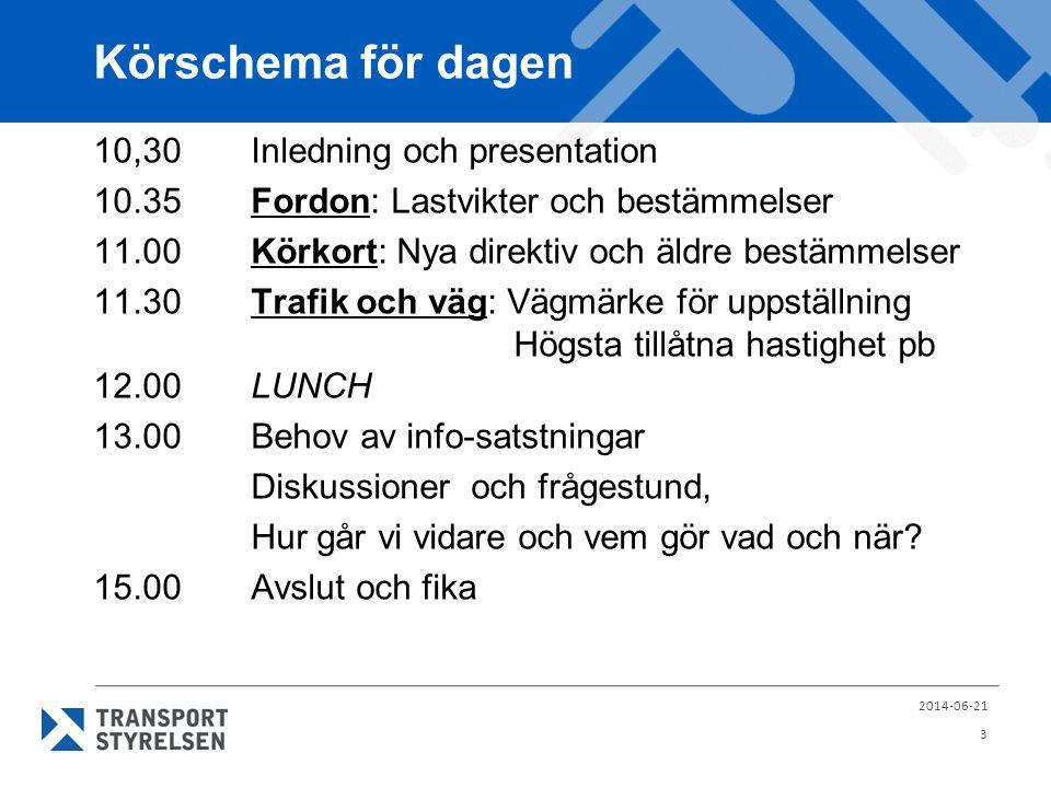 Körschema för dagen 10,30Inledning och presentation 10.35Fordon: Lastvikter och bestämmelser 11.00Körkort: Nya direktiv och äldre bestämmelser 11.30Tr