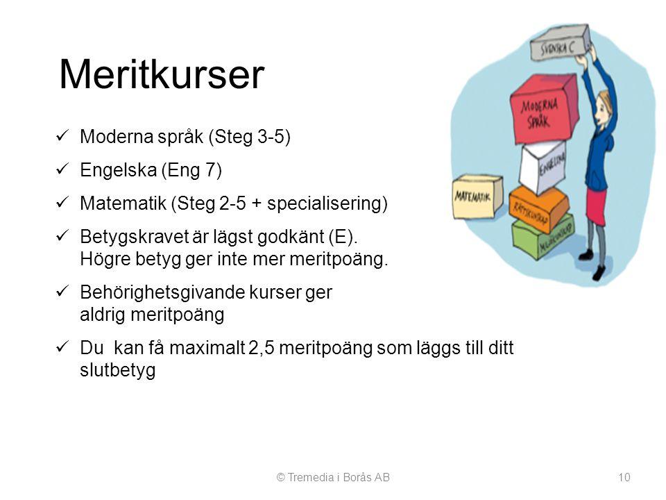 Meritkurser © Tremedia i Borås AB10  Moderna språk (Steg 3-5)  Engelska (Eng 7)  Matematik (Steg 2-5 + specialisering)  Betygskravet är lägst godk